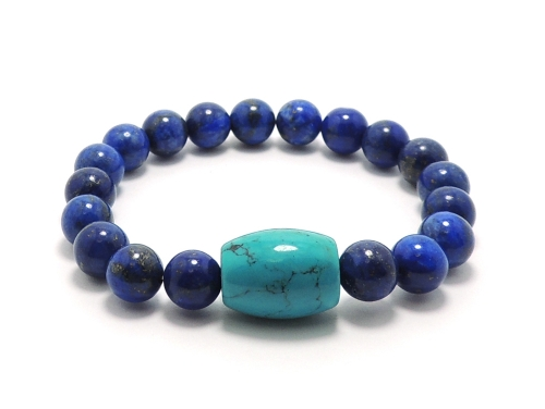 エスニックブレスレット・アジアンパワーストーン ハウライトターコイズ(ブルー)AAAAライス16ミリ ラピスラズリAAAA(9月誕生石)8ミリ 魔除・厄除・開運 [サイズ選べる][日本製][送料無料] (11199)