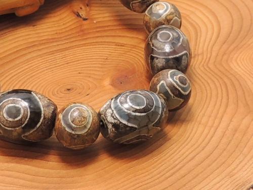 エスニックブレスレット・アジアンパワーストーン(メンズ) チベット天珠(三眼)AAAAナツメ玉16ミリ チベット天珠(三眼)AAAAA最高品質10ミリ 金運 [サイズ選べる][日本製][送料無料] (11228)