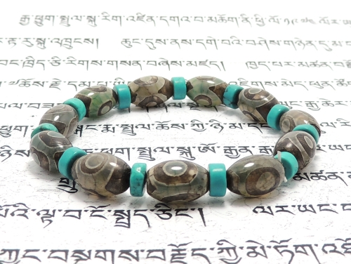 エスニックブレスレット・アジアンパワーストーン チベット天珠(三眼)AAAAナツメ玉12ミリ ハウライトターコイズ(ブルー)AAAA(12月誕生日石)ボタン6ミリ 金運・魔除・厄除 [サイズ選択可][日本製][送料無料] (11232)