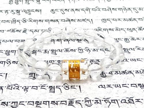 エスニックブレスレット・アジアンパワーストーン クリスタル(水晶)(六字真言)AAAA(4月誕生日石)14ミリ クリスタル(水晶)AAAAA最高品質(4月誕生日石)8ミリ 開運 [サイズ選べる][日本製][送料無料] (11252)
