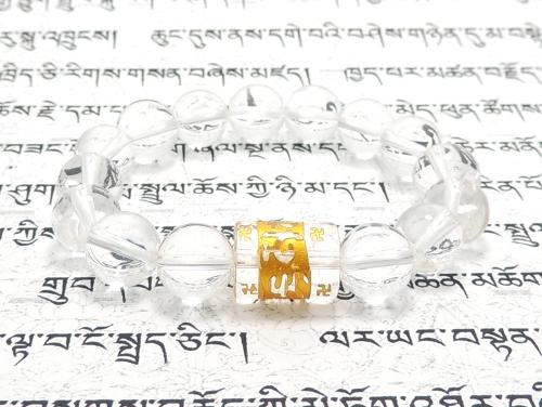 エスニックブレスレット・アジアンパワーストーン クリスタル(水晶)(六字真言)AAAA(4月誕生日石)14ミリ クリスタル(水晶)AAAAA最高品質(4月誕生日石)10ミリ 開運 [サイズ選べる][日本製][送料無料] (11253)