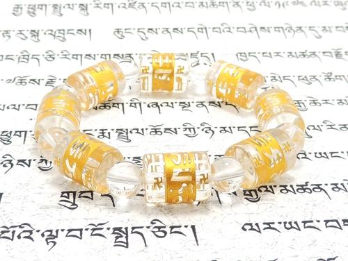 エスニックブレスレット・アジアンパワーストーン クリスタル(水晶)(六字真言)AAAA(4月誕生石)14ミリ クリスタル(水晶)AAAAA最高品質(4月誕生石)8ミリ 開運 [サイズ選べる][日本製][送料無料] (11255)