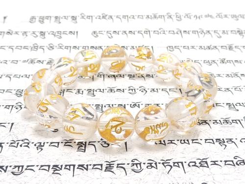 エスニックブレスレット・アジアンパワーストーン クリスタル(水晶)(六字真言)AAA(4月誕生石)12ミリ 開運 ワンカラーブレス [サイズ選べる][日本製][送料無料] (11259)