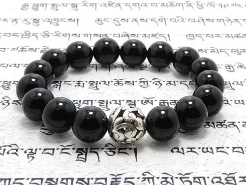 エスニックブレスレット・アジアンパワーストーン(メンズ) チベット合金10ミリ オニキスAAAA(1月誕生日石)10ミリ 魔除・厄除 [サイズ選択可][日本製][送料無料] (11273)