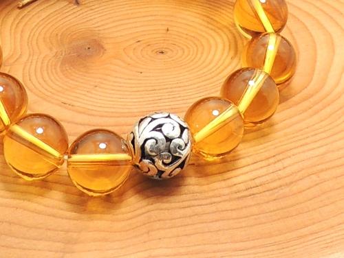 エスニックブレスレット・アジアンパワーストーン チベット合金10ミリ シトリンAAA(11月誕生日石)10ミリ 魔除・厄除・金運 [サイズ選択可][日本製][送料無料] (11276)