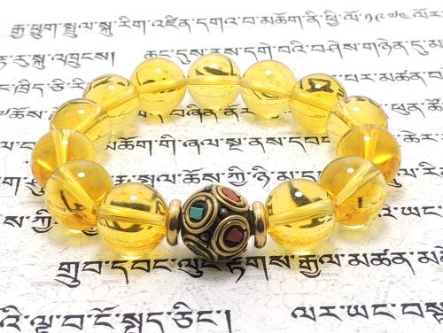エスニックブレスレット・アジアンパワーストーン チベットハンドメードビーズ(10面カット)12ミリ シトリンクォーツAAA(11月誕生石)12ミリ チベット合金真鍮8ミリ 金運・魔除・厄除 [サイズ選べる][日本製][送料無料] (11379)