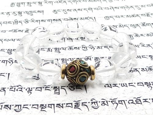 エスニックブレスレット・アジアンパワーストーン(メンズ) チベットハンドメードビーズ(10面カット)12ミリ チベット合金真鍮8ミリ クリスタル(水晶)AAAAA最高品質(4月誕生石)12ミリ 金運・魔除・厄除・開運 [サイズ選べる][日本製][送料無料] (11385)