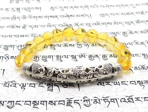 エスニックブレスレット・アジアンパワーストーン チベット合金曲パイプ48ミリ&6ミリ シトリンクォーツAAA(11月誕生石)8ミリ 魔除・厄除・金運 [サイズ選べる][日本製][送料無料] (11387)
