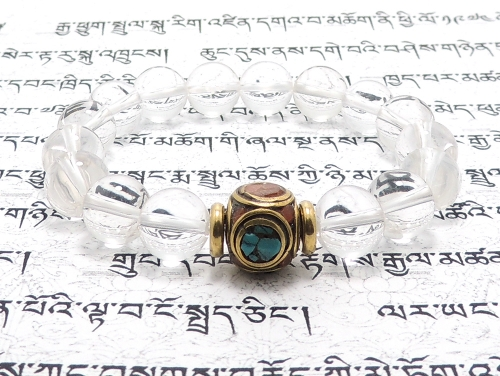 エスニックブレスレット・アジアンパワーストーン チベットハンドメードビーズ6面丸玉カット12ミリ チベット合金真鍮8ミリ クリスタル(水晶)AAAAA最高品質(4月誕生石)10ミリ 金運・魔除・厄除・開運 [サイズ選べる][日本製][送料無料] (11402)