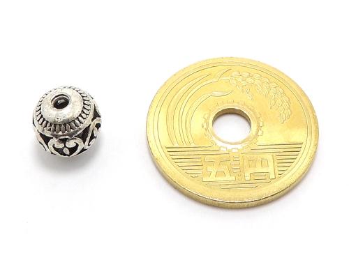 アジアン・エスニックビーズ粒売り チベット合金8ミリ 魔除・厄除 ハンドメイド・手作りアクセサリー用 (11542)