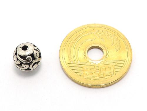 アジアン・エスニックビーズ粒売り チベット合金8ミリ 魔除・厄除 ハンドメイド・手作りアクセサリー用 (11543)