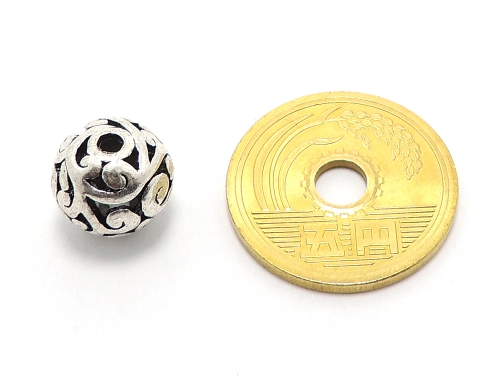 アジアン・エスニックビーズ粒売り チベット合金10ミリ 魔除・厄除 ハンドメイド・手作りアクセサリー用 (11545)