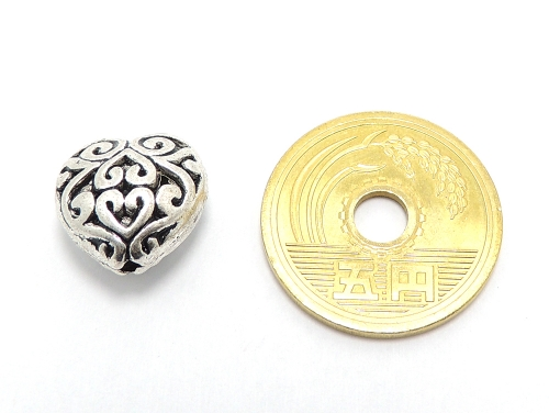 アジアン・エスニックビーズ粒売り チベット合金ハート型13ミリ 魔除・厄除 ハンドメイド・手作りアクセサリー用 (11548)