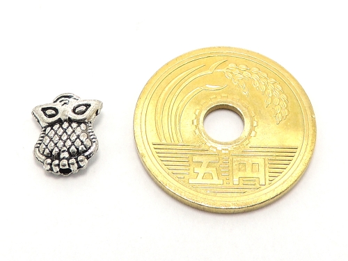 アジアン・エスニックビーズ粒売り チベット合金フクロウ10ミリ 魔除・厄除 ハンドメイド・手作りアクセサリー用 (11550)