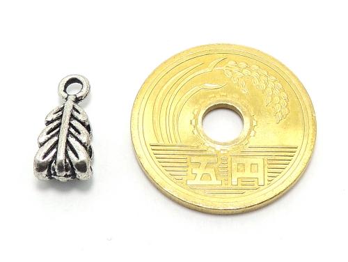 アジアン・エスニックビーズ粒売り チベット合金羽形チャーム14ミリ 魔除・厄除 ハンドメイド・手作りアクセサリー用 (11551)