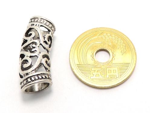 アジアン・エスニックビーズ粒売り チベット合金曲パイプ26ミリ 魔除・厄除 ハンドメイド・手作りアクセサリー用 (11555)