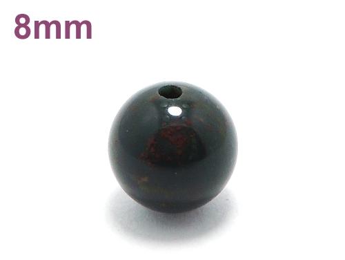 パワーストーン天然石ビーズ粒売り ブラッドストーンAAAA(3月誕生日石)8ミリ 魔除・厄除 ハンドメイド・手作りアクセサリー用 (11621)
