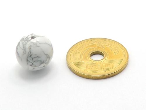 パワーストーン天然石ビーズ粒売り ホワイトハウライトAAAA12ミリ 健康・癒し ハンドメイド・手作りアクセサリー用 (11638)
