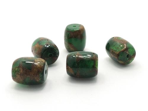 アジアン・エスニックパワーストーン天然石ビーズ粒売り チベット金彩石(グリーン)AAAA12ミリ 金運 ハンドメイド・手作りアクセサリー用 (11652)