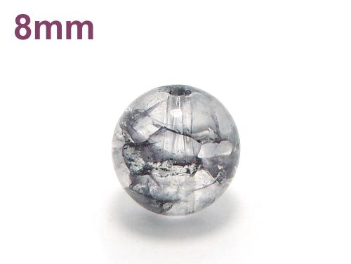 パワーストーン天然石ビーズ粒売り クラック水晶(ブラック)AAAA8ミリ 金運 ハンドメイド・手作りアクセサリー用 (11657)