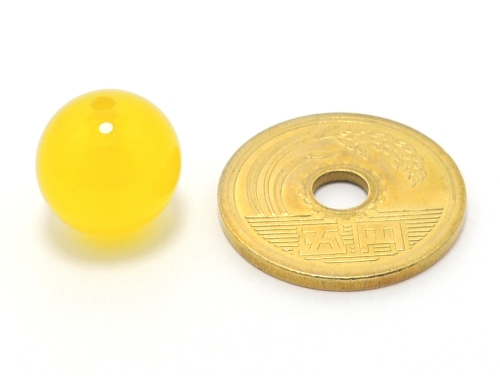 パワーストーン天然石ビーズ粒売り イエローカルセドニーAAAA12ミリ 対人関係 ハンドメイド・手作りアクセサリー用 (11663)
