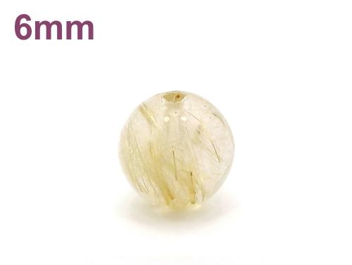 パワーストーン天然石ビーズ粒売り ルチルクォーツAAA6ミリ 金運 ハンドメイド・手作りアクセサリー用 (11671)