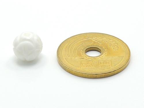 アジアン・エスニックパワーストーン天然石ビーズ粒売り シャコガイ(蓮花彫り)AAAA8ミリ 魔除・厄除 ハンドメイド・手作りアクセサリー用 (11699)