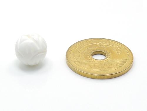 アジアン・エスニックパワーストーン天然石ビーズ粒売り シャコガイ(蓮花彫り)AAAA10ミリ 魔除・厄除 ハンドメイド・手作りアクセサリー用 (11700)