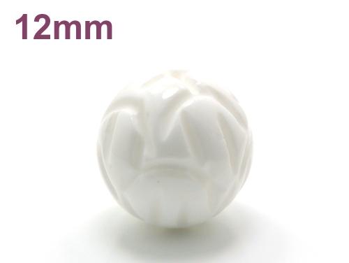 アジアン・エスニックパワーストーン天然石ビーズ粒売り シャコガイ(蓮花彫り)AAAA12ミリ 魔除・厄除 ハンドメイド・手作りアクセサリー用 (11701)