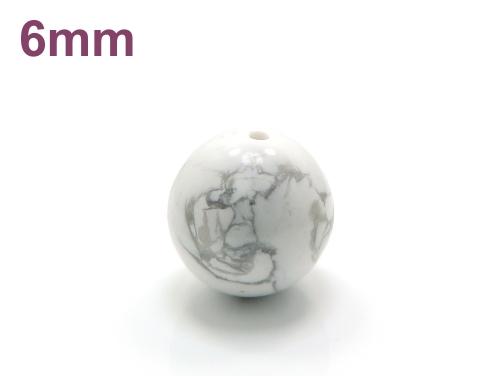 パワーストーン天然石ビーズ粒売り ホワイトハウライトAAAA6ミリ 健康・癒し ハンドメイド・手作りアクセサリー用 (11704)