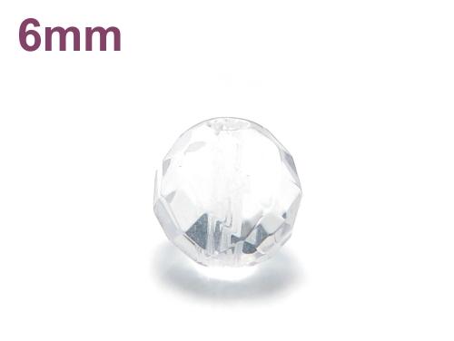 パワーストーン天然石ビーズ粒売り クリスタル(水晶)(64面カット)AAAA(4月誕生石)6ミリ 開運 ハンドメイド・手作りアクセサリー用 (11721)