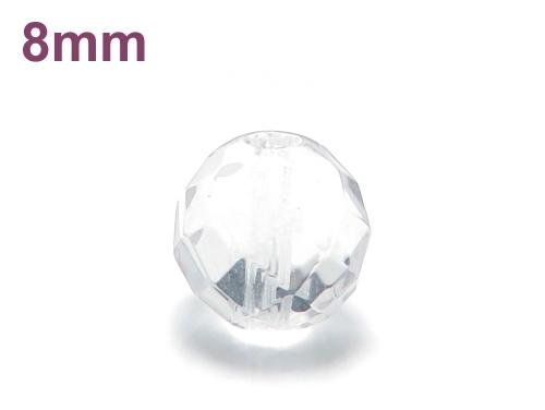 パワーストーン天然石ビーズ粒売り クリスタル(水晶)(64面カット)AAAA(4月誕生石)8ミリ 開運 ハンドメイド・手作りアクセサリー用 (11722)