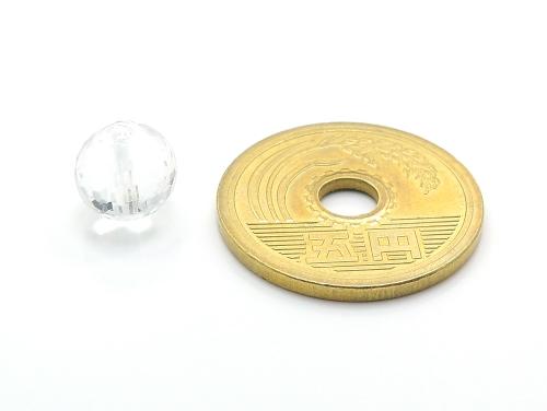 パワーストーン天然石ビーズ粒売り クリスタル(水晶)(128面カット)AAAA(4月誕生日石)10ミリ 開運 ハンドメイド・手作りアクセサリー用 (11724)