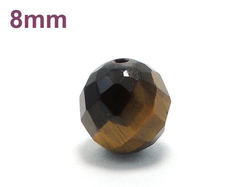 パワーストーン天然石ビーズ粒売り タイガーアイ(64面カット)AAA(10月誕生日石)8ミリ 金運 ハンドメイド・手作りアクセサリー用 (11725)