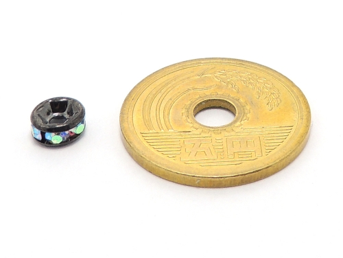 平ロンデル オーロラ/ブラック 6mm×3mm 5個セット ハンドメイド・手作りアクセサリー用