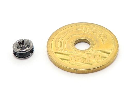 平ロンデル ジェット/ブラック 6mm×3mm 5個セット ハンドメイド・手作りアクセサリー用