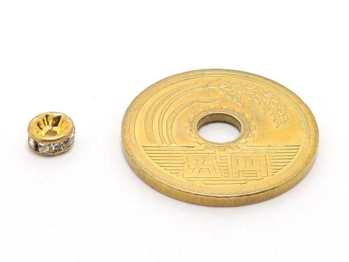 平ロンデル クリスタル/ゴールド 5mm×2.5mm 5個セット ハンドメイド・手作りアクセサリー用