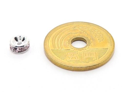 平ロンデル ピンク/シルバー 6mm×3mm 5個セット ハンドメイド・手作りアクセサリー用