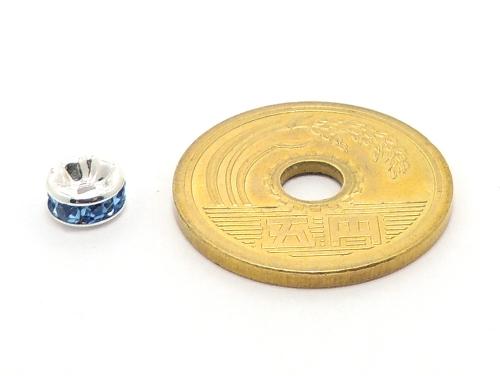 平ロンデル ブルー/シルバー 6mm×3mm 5個セット ハンドメイド・手作りアクセサリー用