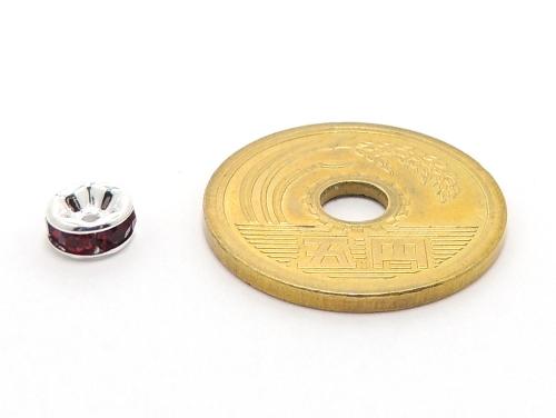 平ロンデル レッド/シルバー 6mm×3mm 5個セット ハンドメイド・手作りアクセサリー用