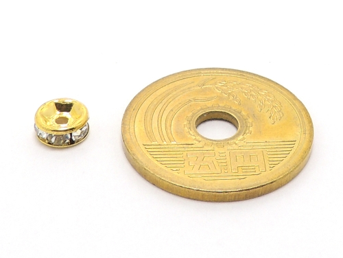 平ロンデル クリスタル/ゴールド 6mm×3mm 5個セット ハンドメイド・手作りアクセサリー用