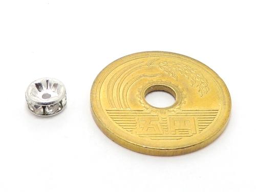 平ロンデル クリスタル/シルバー 6mm×3mm 5個セット ハンドメイド・手作りアクセサリー用
