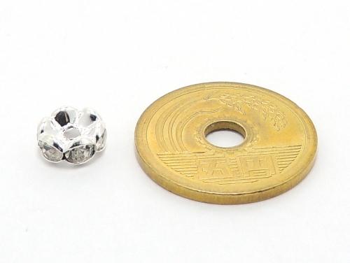 波ロンデル クリスタル/シルバー 8mm×4mm 5個セット ハンドメイド・手作りアクセサリー用