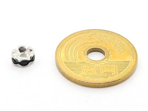 波ロンデル ジェット/シルバー 6mm×3mm 5個セット ハンドメイド・手作りアクセサリー用