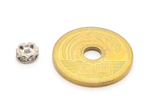 波ロンデル クリスタル/シルバー 6mm×3mm 5個セット ハンドメイド・手作りアクセサリー用