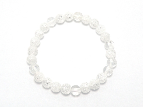 パワーストーンブレスレット クラック水晶AAAA6ミリ 金運 ワンカラーブレス [サイズ選べる][日本製][送料無料] (11742)