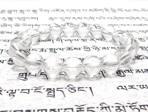 パワーストーンブレスレット クリスタル(水晶)(クラック入り)(4月誕生日石)8ミリ 開運 ワンカラーブレス [サイズ選べる][日本製][送料無料] (11833)