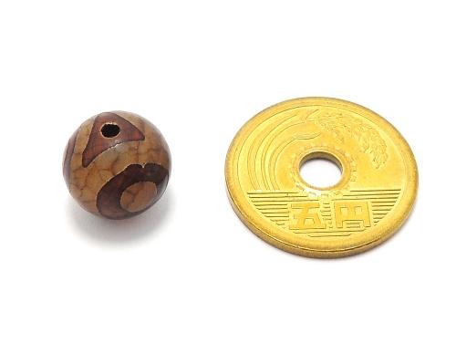 アジアン・エスニックパワーストーン天然石ビーズ粒売り チベット天珠(紅朱砂三眼)AAAA12ミリ 金運 ハンドメイド・手作りアクセサリー用 (11872)