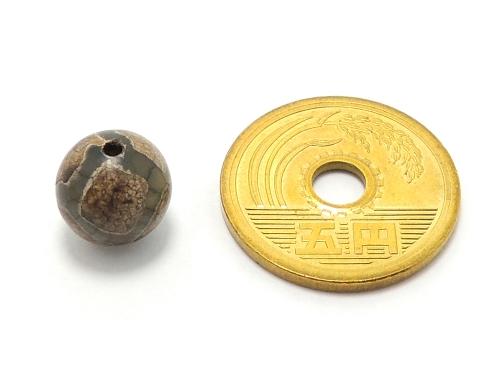 アジアン・エスニックパワーストーン天然石ビーズ粒売り チベット天珠(グリーン亀甲)AAAA10ミリ 金運 ハンドメイド・手作りアクセサリー用 (11873)