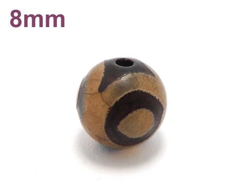 アジアン・エスニックパワーストーン天然石ビーズ粒売り チベット天珠(紅朱砂三眼)AAAA8ミリ 金運 ハンドメイド・手作りアクセサリー用 (11874)